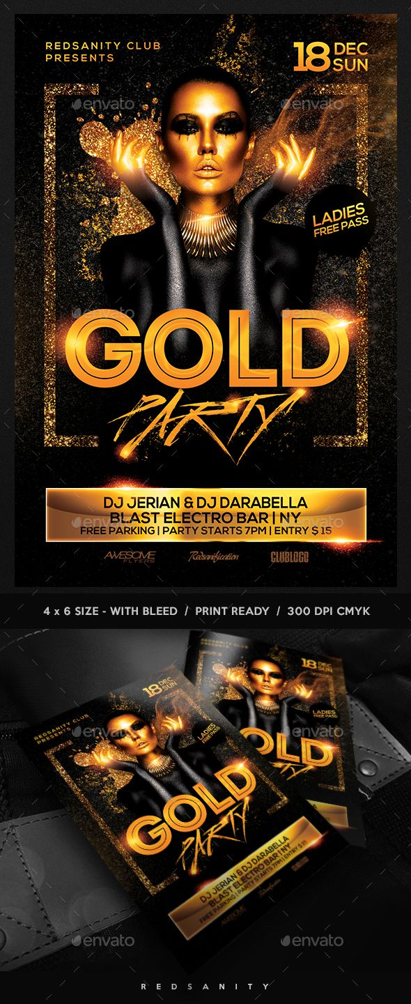 gold party flyer featuresvery easy to edit photoshop template