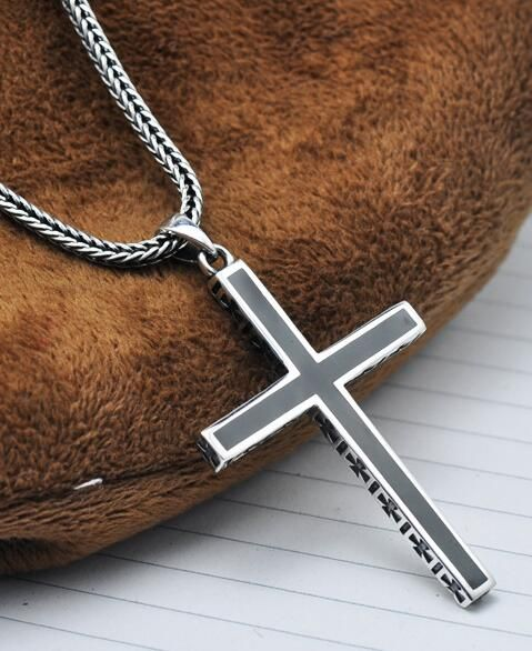 "Men's Sterling Silver Cross Pendant Necklace with 22"" Sterling Silver Wheat Chain $39"