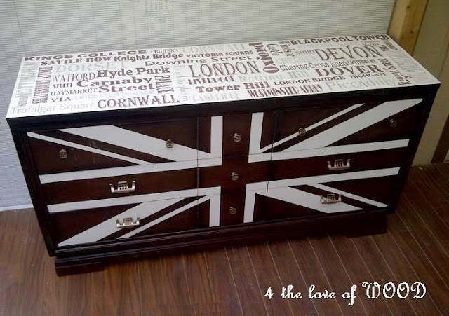 Gorgeous union jack dresser with subway art top. So in love!