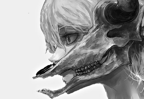 bull skull face anime girl
