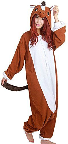 Cousinpjs Animal Onesie Adult Cosplay Costume Onepiece Sleepwear Halloween  Pajamas Brown Horse L Best Halloween Costumes   Dresses e1e133de2
