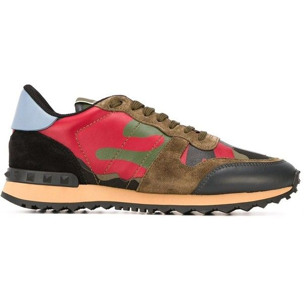 Valentino Garavani 'Rockrunner' sneakers ($670) ❤ liked on Polyvore featuring shoes, sneakers, green, leather sneakers, lacing sneakers, camo shoes, green shoes and valentino sneakers