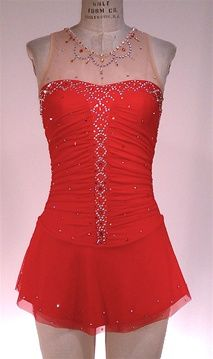 red and fierce figure skating dress