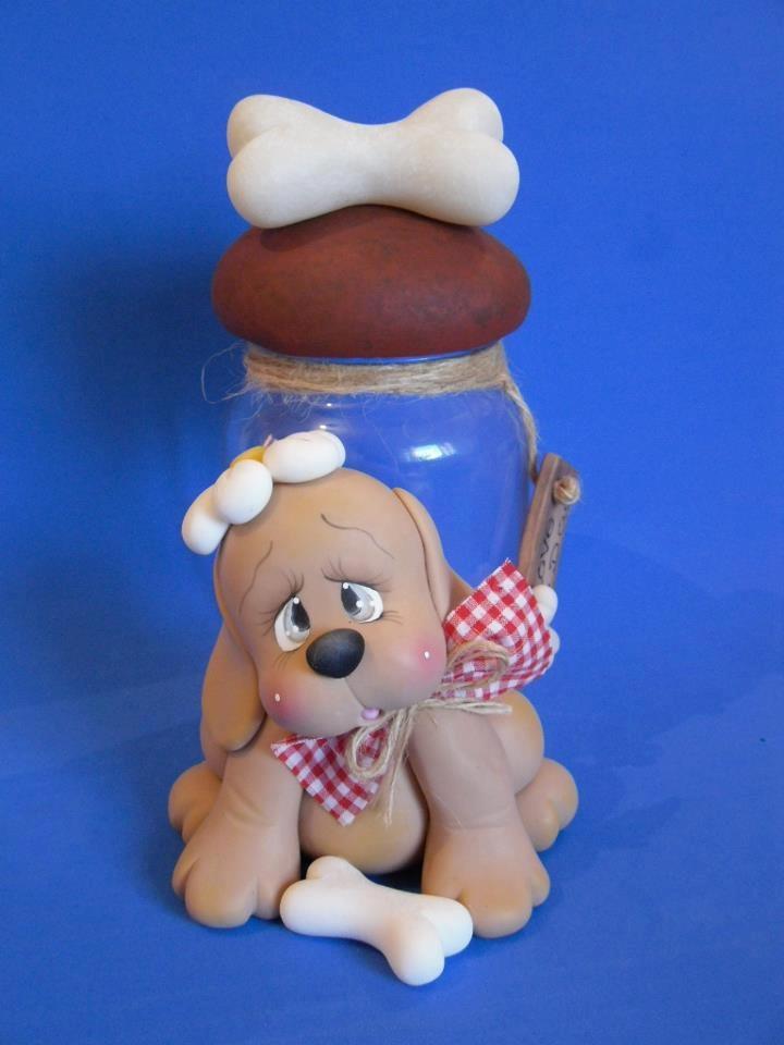 .Clay: Jar deco - dog