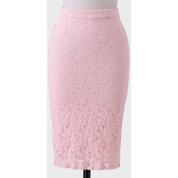 Ruche Phillipa Lace Skirt ($21) ❤ liked on Polyvore featuring skirts, shop ruche, pink, pink lace skirt, shirred skirts, stretch skirts, lace skirt and gathered skirt