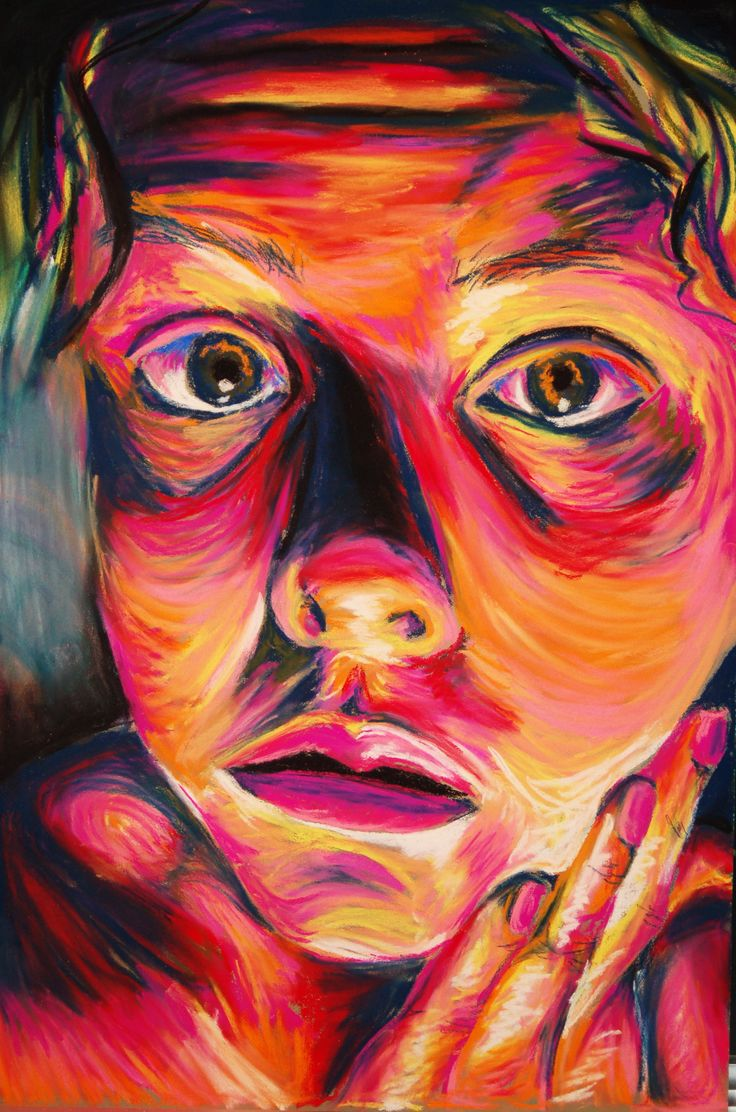 Made by Ashley Cyborski; Soft Pastel self-portrait fauvism inspiration