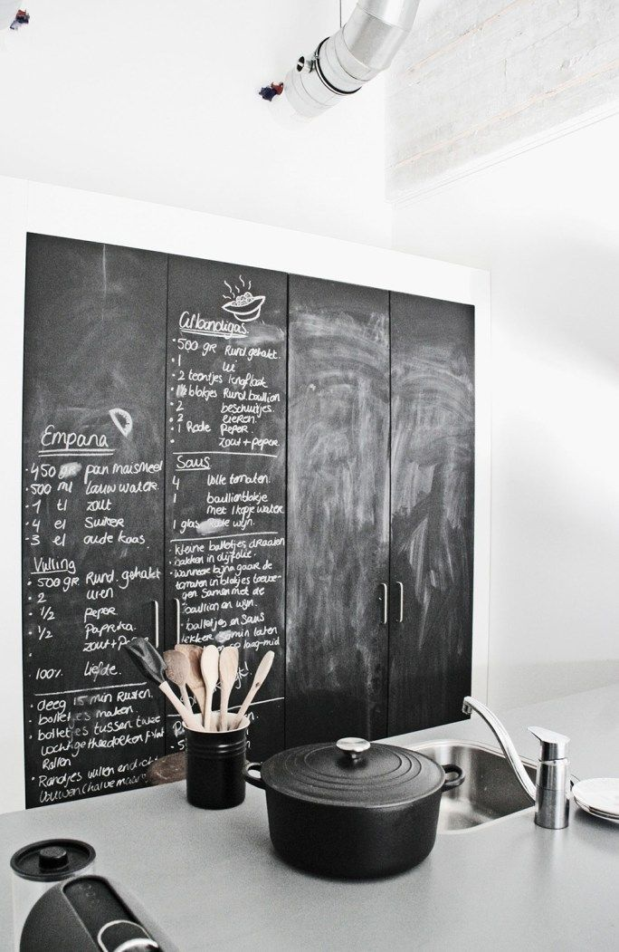 Kitchen cupboard painted with blackboard paint