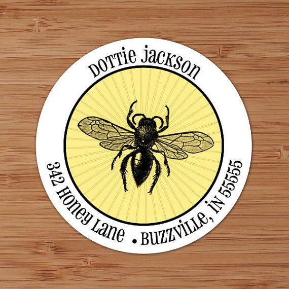 Buzzy Bee - Custom Personalized Address Labels or Stickers by PoshGirlBoutique