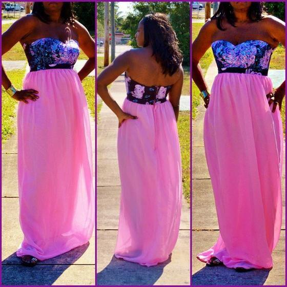 Pink  African Ankara Print Formal Chiffon Dress, Pink Evening Dress - Zabba Designs African Clothing Store