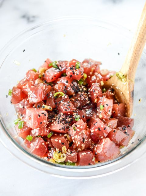 ahi poke bowl with avocado and pineapple I howsweeteats.com