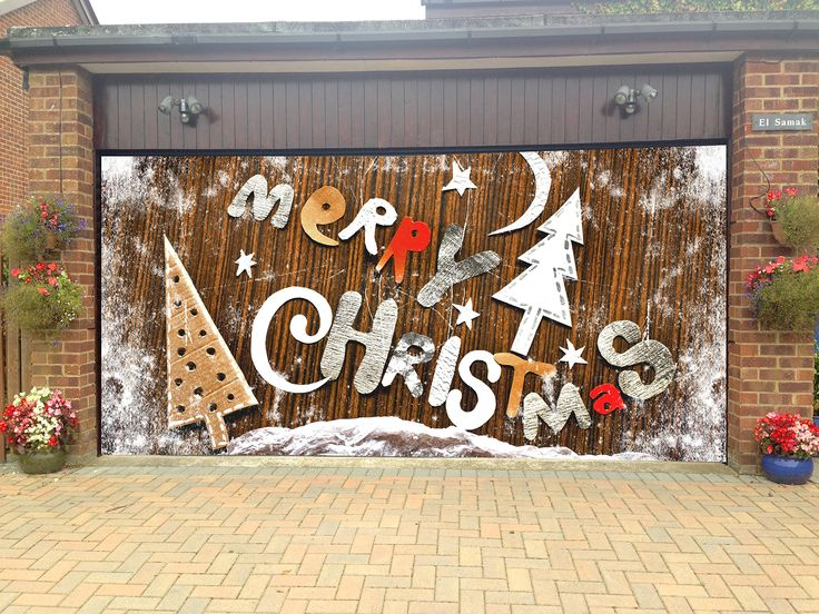 Merry christmas garage door covers 3d banners holiday tree for Christmas garage door mural