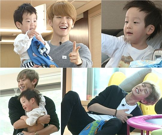EXO's Chanyeol and Baekhyun on a playdate with the twins