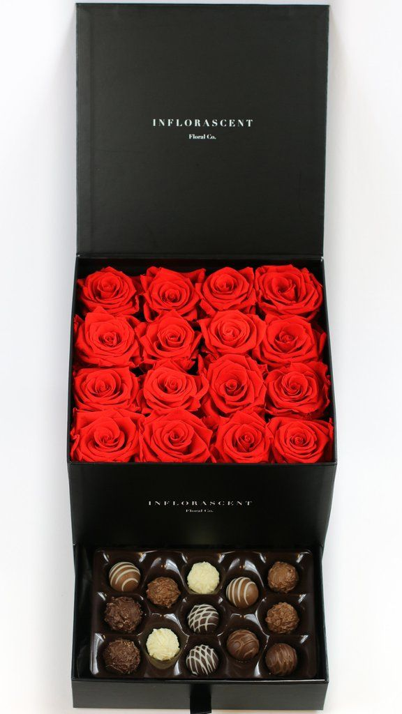 Red roses in a box! Real roses that last a year! With Chocolates!