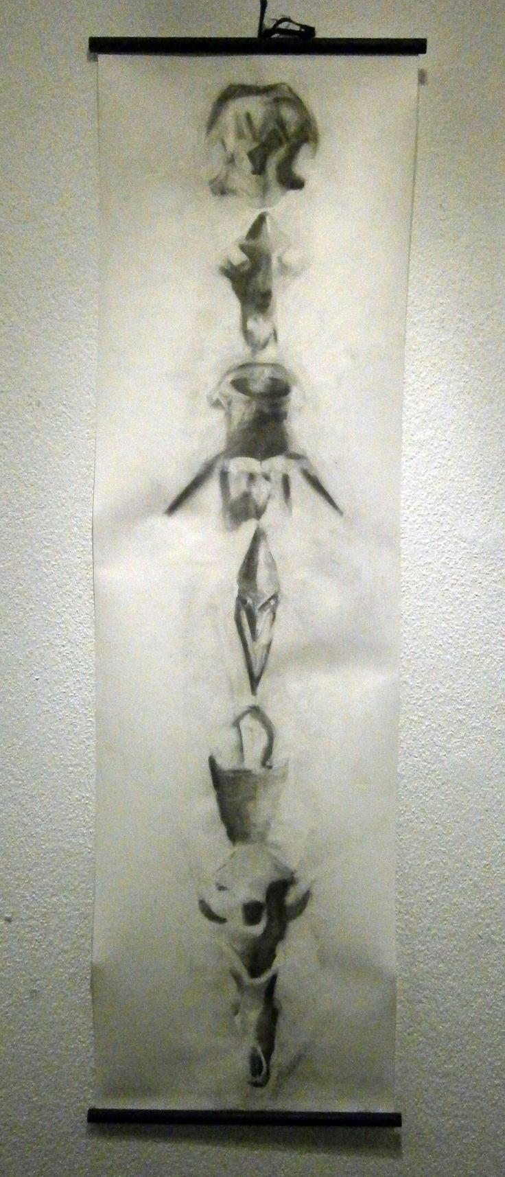 Totem, carboncillo sobre papel engesado, 2014, Gabriel Bretone