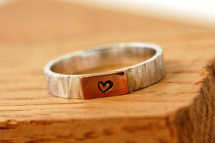 Alianza de plata y cobre de amistad, anillo de compromiso con corazón, anillo de pedida de plata y cobre de Lrplana en Etsy