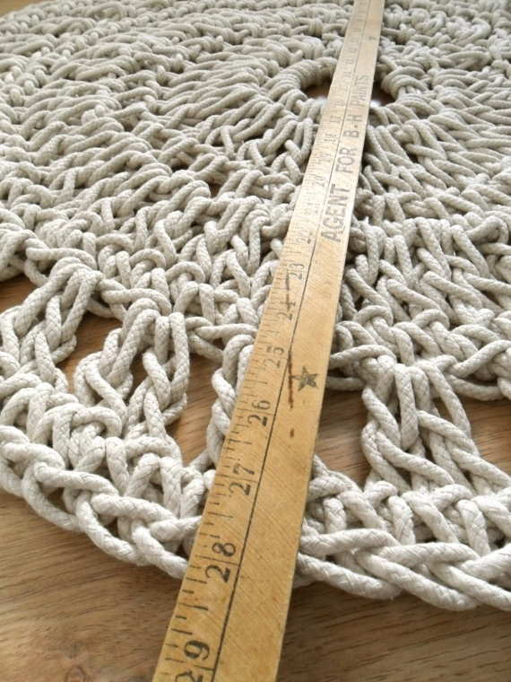Crocheting Rope : Handmade Crochet Rope Rug Organic Cotton Natural Home Decorating Acce ...