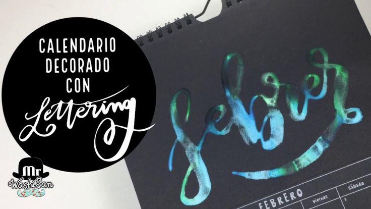 Calendario decorado con lettering febrero. Escribiendo con agua.