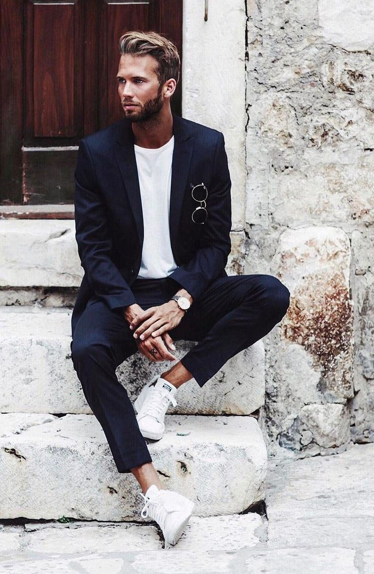 Navy Blue Suit With white Sneakers