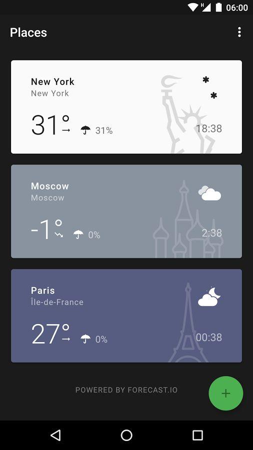 깔끔한 날씨 ui입니다. 플랫한 느낌과 심플한 메타포가 독보이는 디자인 사례입니다.