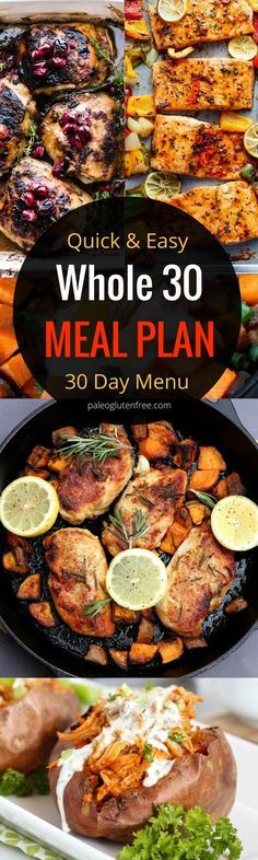 30 days of Whole 30 meals! A ll mplete Whole 30 paleo menu plan. Quick, easy, and delicious meals and tips for eating whole 30 diet. Paleo diet meal plan. Paleo shopping list. Gluten free menu plan.