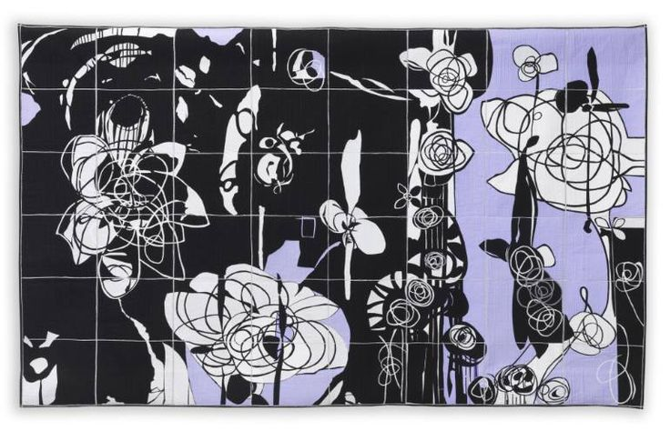 Buy Rhosyn Du - Black Rose, a Fabric Collage on , by Bethan Ash from United Kingdom, For sale, Price is $3850, Size is 59.8 x 83.9 x 1 in.