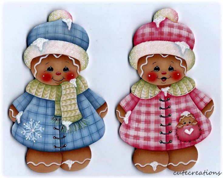 HP Set of 2 Snowy GINGERBREAD FRIDGE MAGNETS