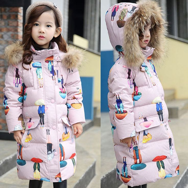 >> Click to Buy << down winter jacket for girls 2017 autumn winter fur hooded character long thick warm children's winter jackets outwear clothing #Affiliate