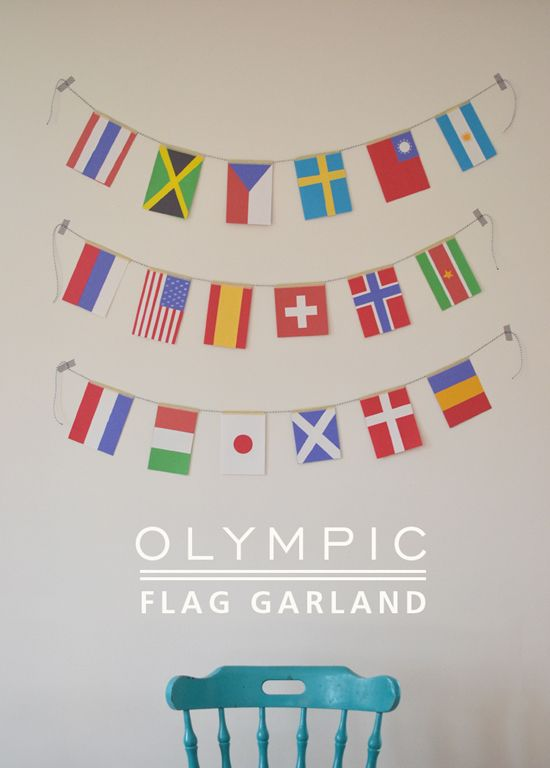 DIY Olympics Flag Garland for Kids to make - Perfect learning and rafting activity - SmallforBig.com