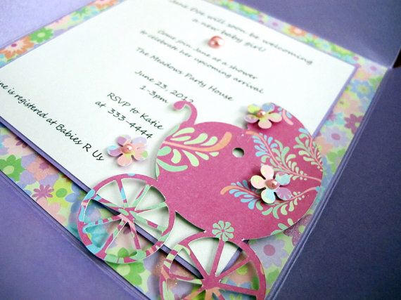 Baby Girl Petal Fold Shower Invitation with by 2MonkeysCreations, $9.25
