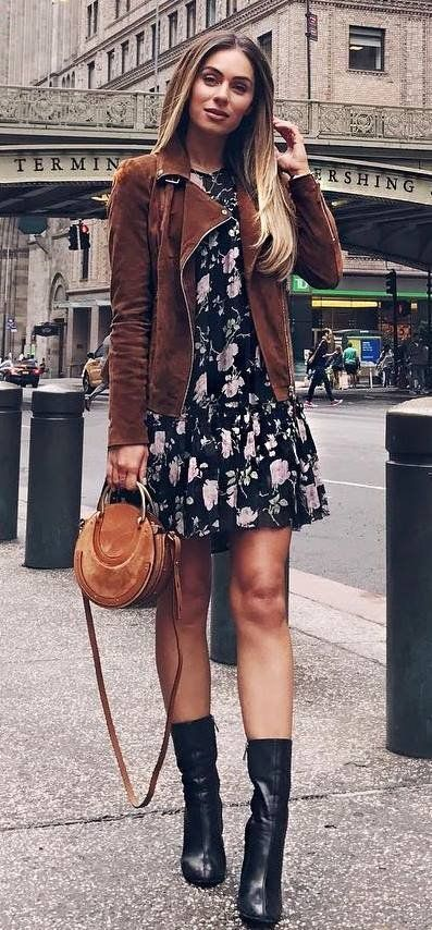 awesome fall outfit : brown jacket + floral dress + bag + boots