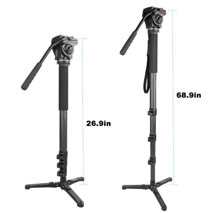 kingjoy MP4208F+VT-3510 Professional Carbon Fiber Multifunctional Monopods + Flexible Aluminum Camera Fluid Video Tripod //Price: $189.60//     #shop