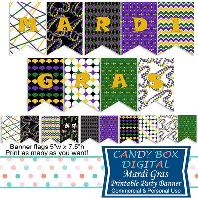 Mardi Gras Ready-To-Print Party Banner by Candy Box Digital. Mardi Gras beads, jester masks, King crown, classic Mardi Gras colors. Great party decoration!