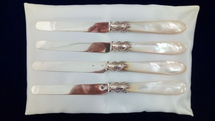 Antique French Minerva Set Silver/Mother of Pearl Tea Knives c1845 Jules Piault