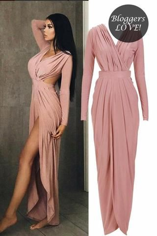 Celebrity style Slinky Gathered Goddess Maxi Dress
