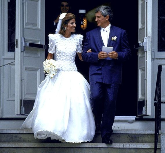 Caroline Kennedy & Ed Schlossberg's Wedding 7/19/86 at Our Lady Of Victory Church, Centerville, MA gown. Dress by Carolina Hererra.