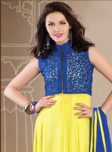 Designer  Blue & Yellow Anarkali Salwar Kameez GF415265