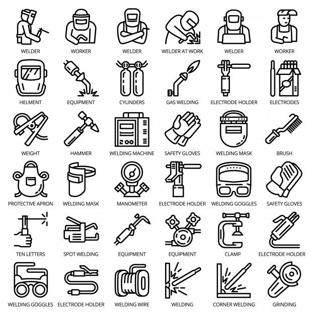 Zestaw Ikon Sprzetu Spawacza Zarys Zestaw Urzadzen Spawacz Wektorowe Ikony Na Projektowanie Stron Internetowych Izolowane Icon Set Welders Vector Icon Design