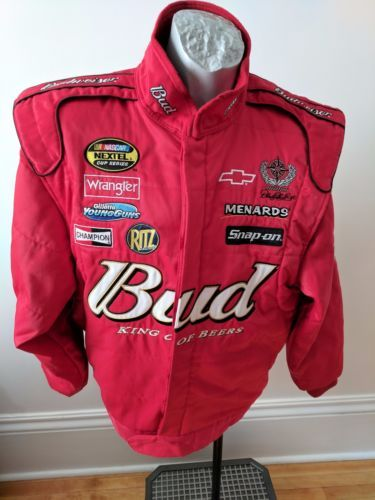 Budweiser-Nascar-Mens-Chase-Racing-Jacket-Red-Insulated-Embroidery-Patches-Sz-M