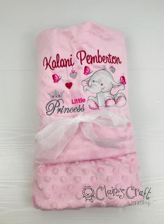 Personalised New Born Baby Shawl Blanket Embroidered Name  Cute Elephant Design