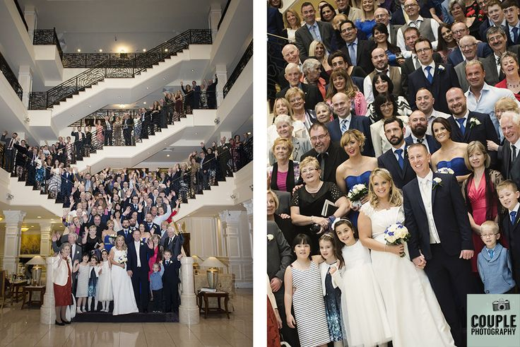 We love using the epic staircase for a huge group photograph of all the wedding guests. Weddings at The Heritage Hotel by Couple Photography.