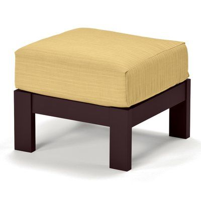 Telescope Casual Leeward Deep Ottoman with Cushion Finish: Textured Beachwood, Fabric: Stone Linen