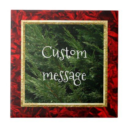 #Evergreen Tree - Cypress Boughs Ceramic Tile - #Xmas #ChristmasEve Christmas Eve #Christmas #merry #xmas #family #kids #gifts #holidays #Santa