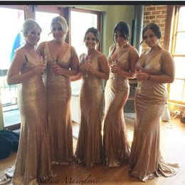 Wholesale Sparkling Rose Gold Cheap Trumpet Bridesmaid Dresses Open Back Sexy V Neck Sequins Plus Size Sleeveless Maid of Honor Gowns Champagne