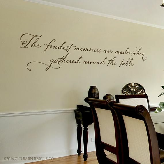 Dining Room Wall Decal The Fondest Memories Are Made When Gathered Around The Table Family Wall Dining Room Walls Wall Decals Dining Room Wall Art