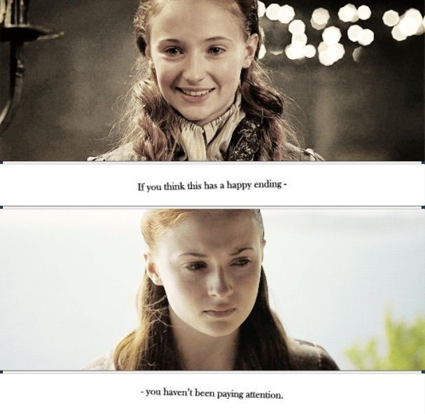 """People are bitching so much about how they're mad that she got raped by Ramsey, because """"she was at the top of her power last season and they just tore her down"""". Come on, this is game of thrones. Did you think this would be a happy story for her? If you did, then you haven't been learning anything. I get that none of season 5 for her is in the books, but it was bound to happen. I don't know when GoT fans started getting so soft."""