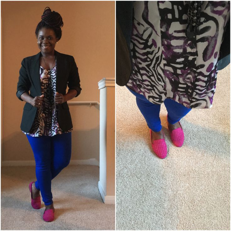 Bright colors and patterns. Blue pants outfit. Forever 21 flats were $8 from Uptown Cheapskate.