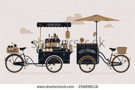 Creative detailed vector street coffee and ice cream vending bicycle carts  with espresso machine, sirup bottles, wooden crate on rear rack, disposable cups and more. Subtle rough paper texture