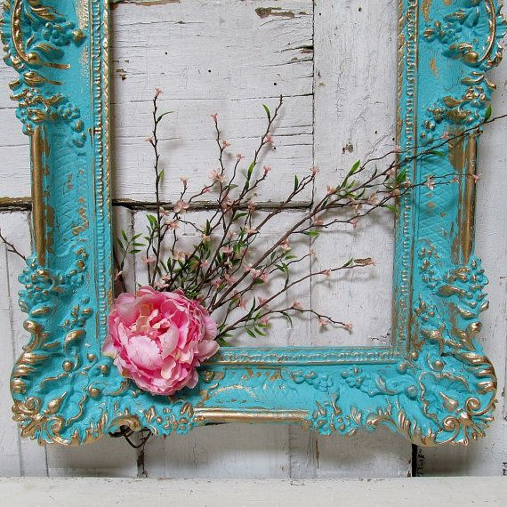 Hand Painted Aqua Frame Wall Hanging Shabby Cottage Chic Distressed Blue W Gold Accent Ornate Vintage Home Decor Anita Spero Design