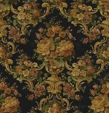 Floral Brocade on Antique Black Victorian Wallpaper