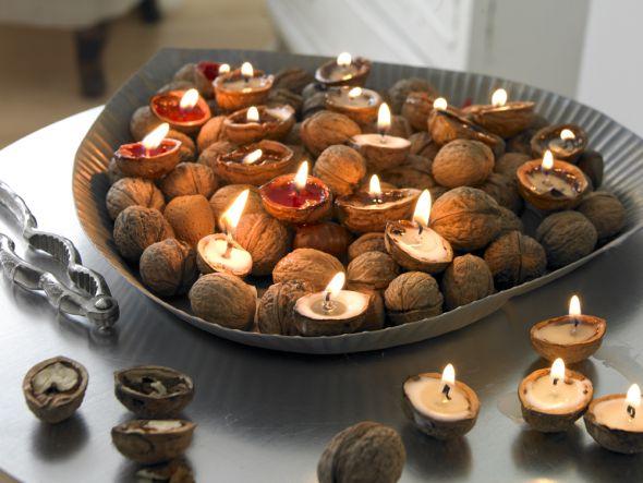 Nusslichter: Walnüsse mit Wachs gefüllt http://www.fuersie.de/diy/basteln-selbermachen/artikel/herbst-und-winterdeko-nusslichter-selber-machen